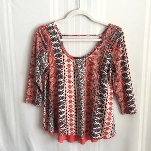 Rue 21 Mixed Media 3/4 Sleeves Scoop Neck Blouse